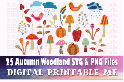 Fall Woodland, Autumn, Nature SVG bundle, PNG, clip art, diy, Digital,