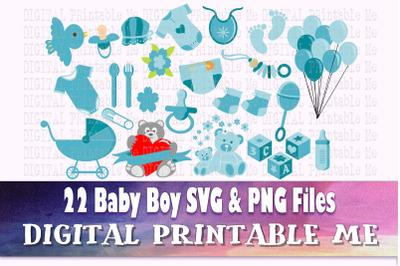 Boy Baby Shower, Clip Art, svg bundle, PNG,  Digital, cut file, vector