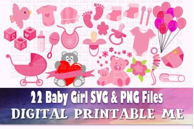 Girl Baby Shower, Clip Art, svg bundle, PNG,  Digital, cut file, vecto