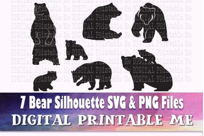 Bear svg, silhouette bundle, PNG, clip art, 7 Digital, cut file, fores