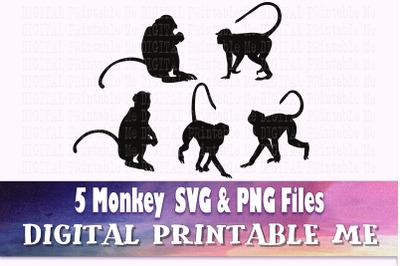 Monkey svg, silhouette bundle, PNG, clip art, 5 Digital, cut file, rai