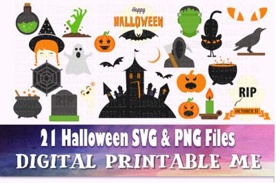 Halloween Clip Art Pack, SVG, PNG, 21 Images, Digital, vector DIY, cut