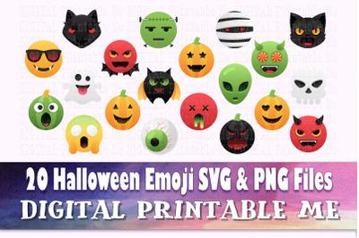 Halloween Emoji, Clip Art Pack, SVG, PNG, 20 Images, Digital, vector D