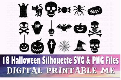 Halloween Silhouette, SVG bundle PNG, 18 clip art Images, Digital, vec