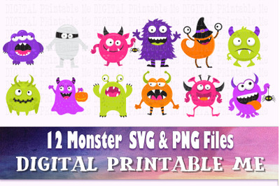 Monster SVG bundle, Alien PNG Images, Cut File, Clip Art Pack, Instant