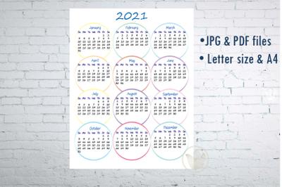 Printable One page Calendar 2021, Printable calendar with circles, jpg