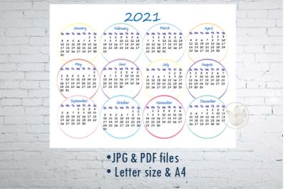 Calendar 2021, Printable calendar with circles
