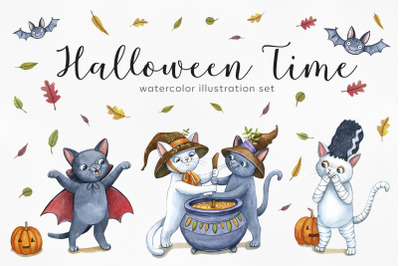 Watercolor halloween set illustrations. 12 exclusive illustrations cat