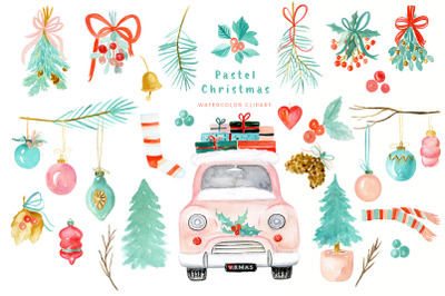Pastel Christmas | Watercolor Holiday  Clipart