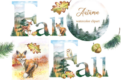 Fall Watercolor clipart Autumn Woodland pine trees, landscapes forest