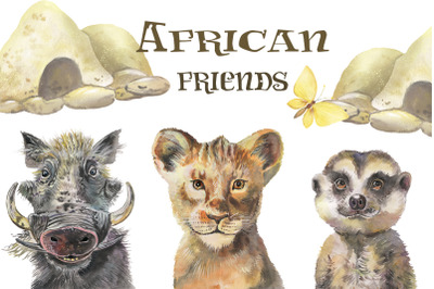 Safari animals watercolor. Lion king watercolor Wall Art Watercolor