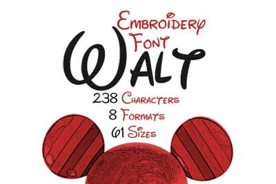Walt Embroidery Font
