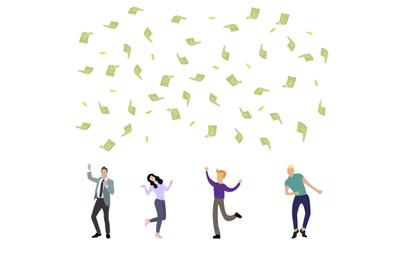 Happy people dancing under money rain