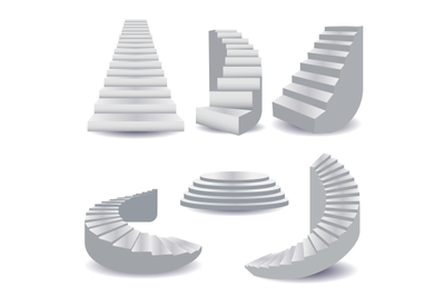 White stairs collection. staircase isolated 3d, stairway for interior