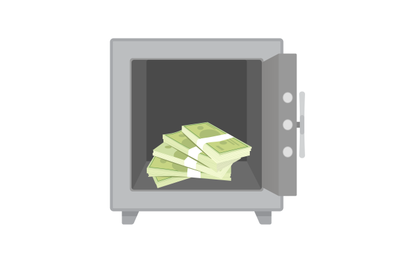 Stack money cash in metal safe. Vector safebox with stack