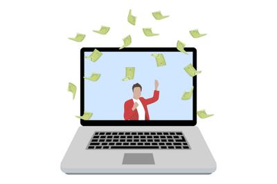 Online winning in casino, lottery or sports betting
