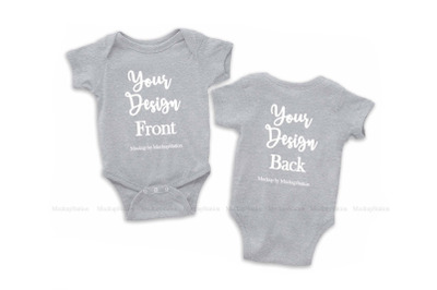 Front & Back Heather Grey Baby Bodysuit Mockup