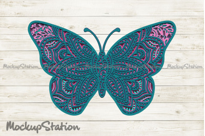 Butterfly 3D Mandala SVG, Layered DXF Cut File Vector
