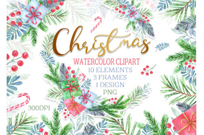 Watercolor Christmas clipart winter frame wreath clip art new year png