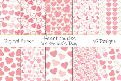 Seamless patterns Heart shaped cookies Valentines day vector illustrat