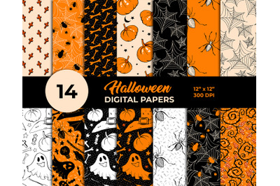 Halloween Digital Paper Pack 12 x 12 inches, JPEG