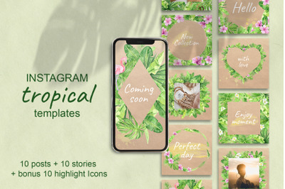 Tropical Instagram Template. Stories, Posts and Highlights