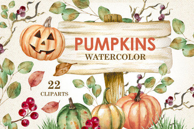 Pumpkins - watercolor cliparts