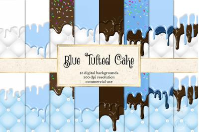 Blue Tufted Cake Digital Paper