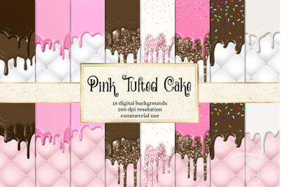Pink Tufted Cake Digital Paper