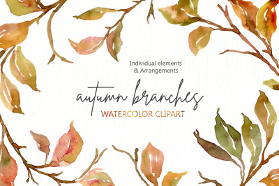 Watercolor Autumn Branches & Leaves Png
