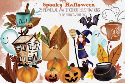 Spooky halloween : watercolor illustration set of 25