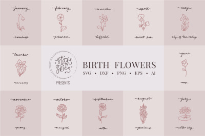 Birth Flowers SVG Cut Files and Clip Arts