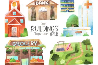 Watercolor Buildings Set