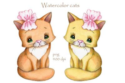 Watercolor Cats. Hand drawn illustration.