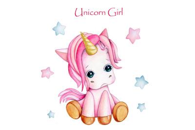 Unicorn Girl. Watercolor illustration.