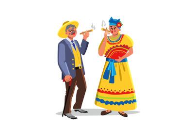 Cuban Cigar Tobacco Smoking Man And Woman Vector
