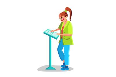 Woman Use Self-service Kiosk Digital Device Vector