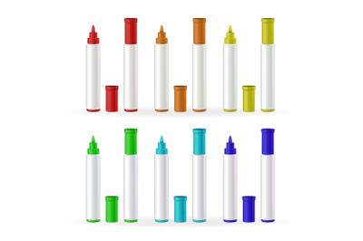 Marker Pens Stationery Different Color Set Vector