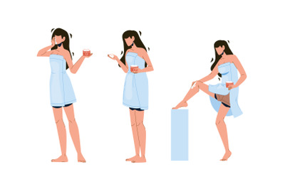 Girl Ointment Package And Massaging Leg Set Vector