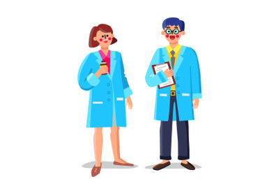 Pharmacist Laboratory Workers Man And Woman Vector