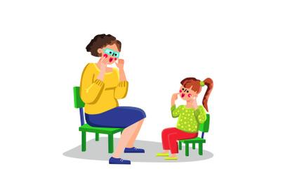 Speech Therapist Teaching Letter Small Girl Vector