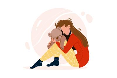 Girl With Trauma Embracing Teddy Bear Toy Vector