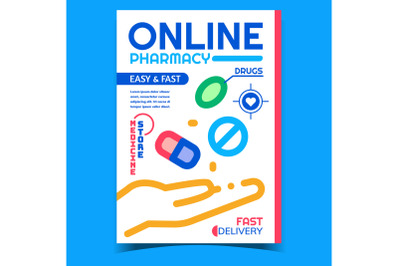 Online Pharmacy Creative Advertising Poster Vector