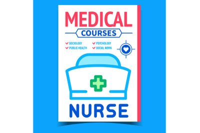 Medical Courses Creative Advertising Poster Vector