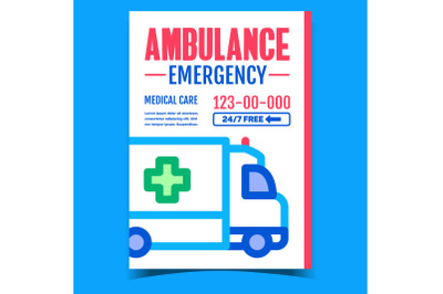 Ambulance Emergency Advertising Banner Vector