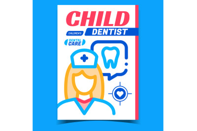 Child Dentist Creative Advertising Poster Vector