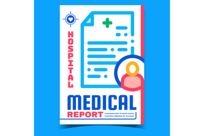 Hospital Medical Report Advertising Banner Vector