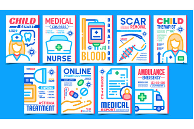 Medical Treatment Advertising Posters Set Vector