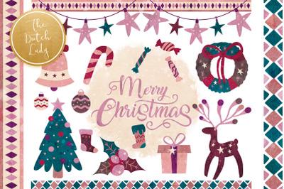Christmas Elements & Decorations Clipart Set