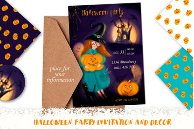 Halloween Party Invitation and decor